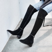 women's boots over the knee high boots knee high boots chunky heels genuine suede fashion big size shoes ladies buckle booties