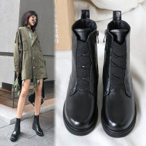 Autumn winter 2018 hot style web celebrity genuine leather Martin boots cross tied round toe fashion women's shoes ladies ankle boots
