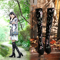 European and American Ethnic style autumn winter embroidery hot style fashion thick heel ladies boots big size over the knee booties