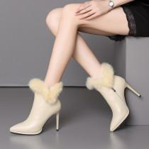 Winter 2018 European and American fashion classic short button-stiletto boots