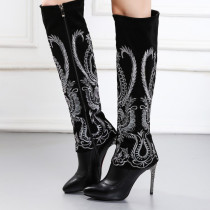 Autumn winter fashion knee high boots Ethnic embroidery stilettos large size women's shoes sexy high heels