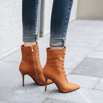2018 autumn/winter Europe fashion simple pointed female style lace-up short boots