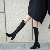 2018 autumn and winter fashion simple classic and lacquer long thin leg thick heel female boots