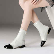 autumn/winter fashion ankle boots inverted boots small size 33 metal buckles and european-style women's white short boots large size genuine leather