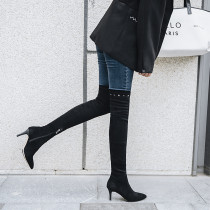 2018 autumn European and American classic fashion over-the-knee long style to show thin female boots