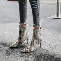women's boots knee high stilettos heels fashion Minimum size 33 maximum size 43 gingham sexy ladies ankle boots