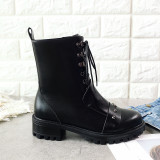 European and American style hot style lace round head female Martin boots