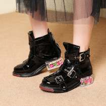 Handmade sturdy and handsome women's metal button-down Martin boots