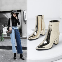 2018 autumn winter thick and pointed Europe and the United States big brand fashion joker temperament thick heel short boots
