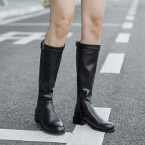 European and American fashion round head metal buckle inner lift and knee boots