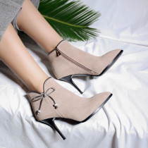 Pure color fresh tie with bow elegant female zipper stiletto ankle boots