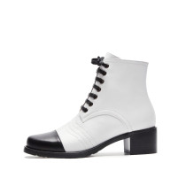 European and American fashion ladies casual Korean version of the color brand shoes cross tied black and white color Martin boots