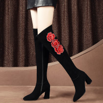 Black stiletto heels hot style rose pattern pointy and knee-high women's shoes size 43