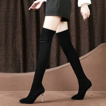 Comfortable and breathable, long black boots for women, knee waterproof platform and slender high heel boots