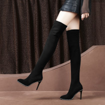Long black boots and knee waterproof platform slender top with 9.5cm comfortable boots