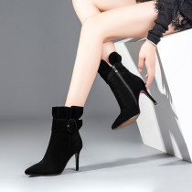 European and American style black female boots, thin high heel with a contraction mouth short boots