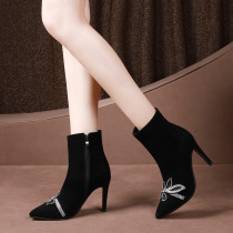 Comfortable and air - permeable lady style bow embellished thin heel women's short boots