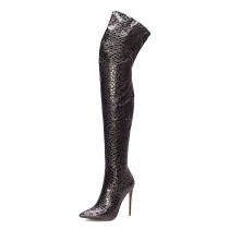 High heels with a pointed stilettos 12cm painted boot are huge in size 45 over the knee thigh high ladies fashion boots
