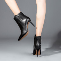 Real leather shoes black hot style temperamental boots pointed thin high heel female short boots