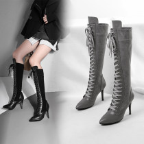 Autumn/winter 2018 style hot style lace top stitching stiletto and knee high boots