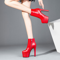 Warm solid color round head waterproof platform with a 15cm heel size 40 for women's red genuine leather boots