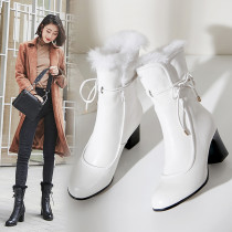 Warm winter 2018 rabbit hair women's shoes genuine black and white with thick and 8cm short boots