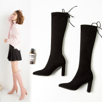 Comfortable and breathable lady's shoes style lady's top simple pure color thick heel and knee boots big size 40