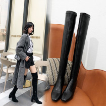 European leather style hot style women's shoes flat top thick heel and knee show slender long leg female boots