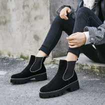 Simple, fashionable and casual European and American women's shoes with round head and pure color short boots