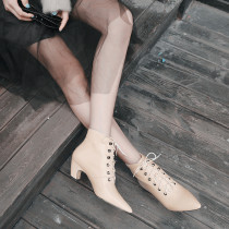 Gentle and quiet ladies style hot style ladies shoes pointed simple pure color department with high heel short female boots
