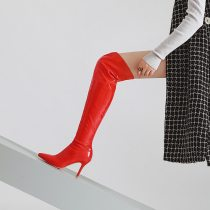 Europe station pure color is long show thin female boot fine point high heel vogue new female boot