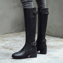 European fashion hot style women's leather shoes simple pointed square root and knee belt metal buckle boots