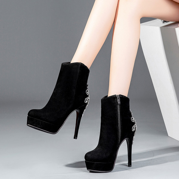 European fashion hot style women's shoes pointed waterproof platform stiletto short embroidered women's boots