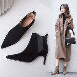 Autumn and winter 2018 simple fashionable women's shoes pointed toes pure color thin high heel short boots big size 40