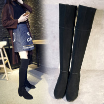 European fashion hot style women's shoes pointy heel women's knee-length black boots