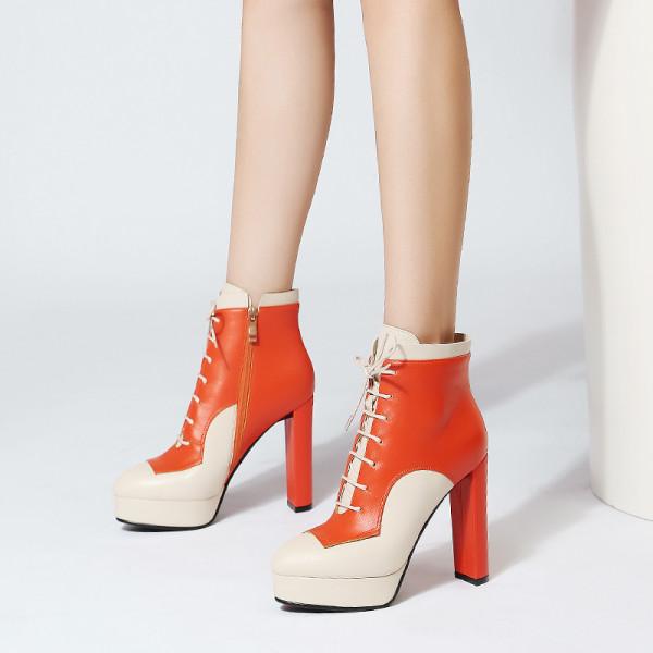 elegant leisure women's shoes genuine leather chunky heels platform orange ankle boots matin booties fashion