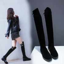 Fashion hot style women's shoes round head low heel women's knitted knee-high boots size 40