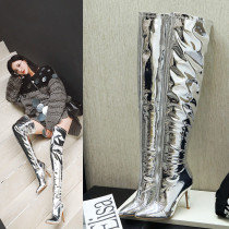 Fashionable and simple silver women's shoes pointed thin high with 9cm feet and knee boots