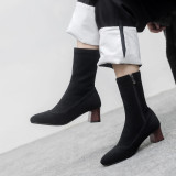 European station simple women's shoes fashion hot style pointed thick heel women's boots big size 43 small size 33