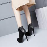 Winter 2018 women's shoes fashion leisure Europe, America and Korea version round platform waterproof platform thin high heel 13cm women's zipper short boots