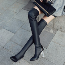 Spring boots spring boots of 2018 winter women's shoes web celebrity crystal heel pointed leather and knee-length women's boots big size 41 small size 33