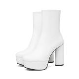 European station big shop fashion international station women's shoes fashion simple round head thick high heel women's short boots