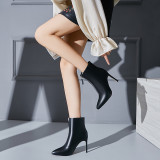 The 2018 winter women's shoes Korean version of small and fresh style women's shoes pointed thin high-heeled middle zipper short style women's boots