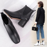 European women's shoe web celebrity hot style style queen chic simple flat head thick with short style women's boots size 43