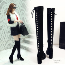 2018 fashion hot style women's shoes pure color rivet decoration belt, thick high heel and knee show thin long boots