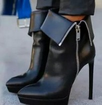platform ankle boots stilettos fashion big size zipper short booties round toe shoes women's shoes ladies boots