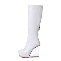 genuine leather shoes transparent crystal heels fashion knee high boots women's shoes white round head wedges heel hot style boots
