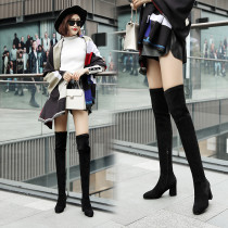 2018 autumn winter female boots popular pure color simple show thin lacing belt cover mouth over knee boots