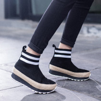 2018 autumn winter fashion women's shoes black knitting double bars leisure sports increase women's shoes