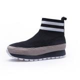 2018 autumn winter fashion women's shoes black knitting double bars leisure sports increase women's shoes